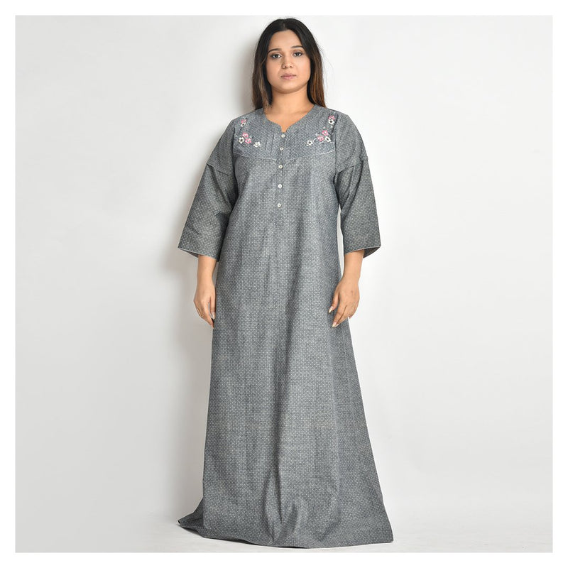 Woman Slate Grey Hand Embroidery Cotton Nighty For Winters