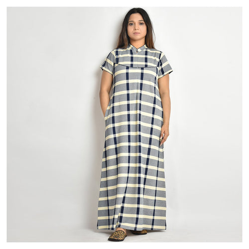 Women Off White And Navy Blue Check Style Jersey Nighty - For Mild Winters