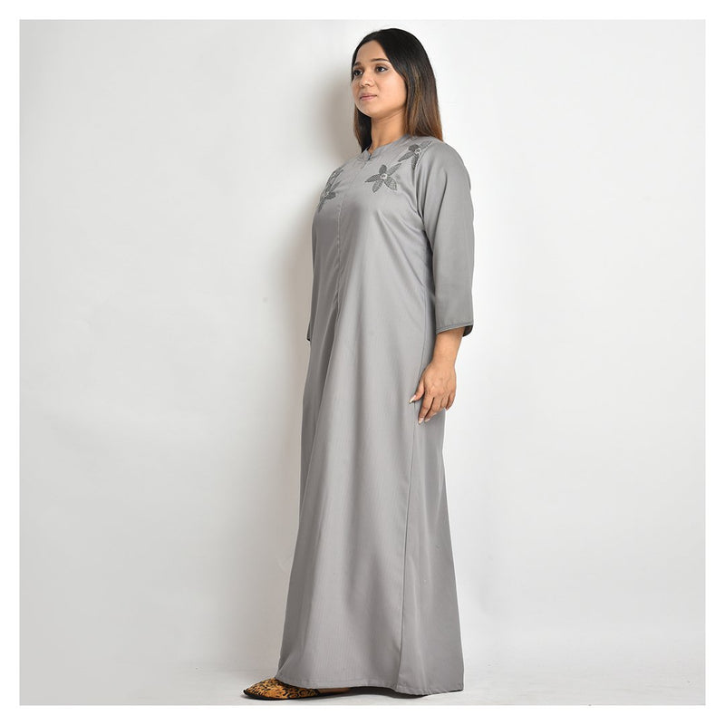Woman Dark Grey Hand Embroidery Japanese Cotton Nighty For Winters