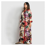 Woman Bold Multi Color Silk Robe