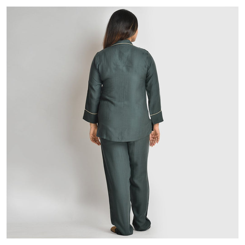 Women Green  Cotton Rayon Night Suit Set