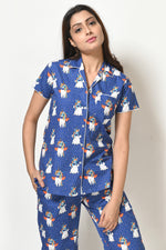 Women Medium Blue Unicorn Print Cotton Cambric Night Suit