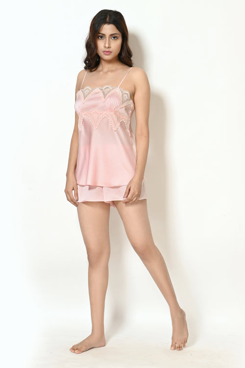 Women Light Peach Satin Lacy Doll Set