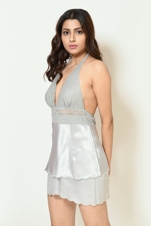 Women Grey Halter Neck Satin Lacy Doll Set