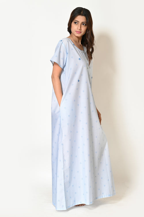 Woman Sky Blue Japanese Cotton Hand Embroidery Nighty