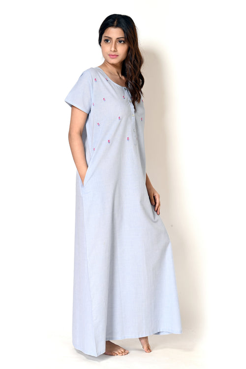 Women Soft Blue Bullion Stitch Hand Embroidery Cotton Cambric Nighty