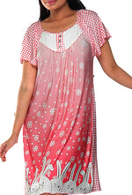 Women Cotton Modal Night Shirt Nighty In Bunny Print
