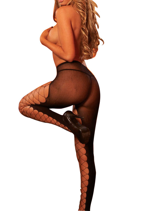 La Lingerie – Hustler – Stockings – Pantyhose – Diamond Net Peek-A-Boo – Black