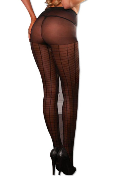 Women Waist High Grid Patterened Fashion Stockings Panty Hoes By Hustler