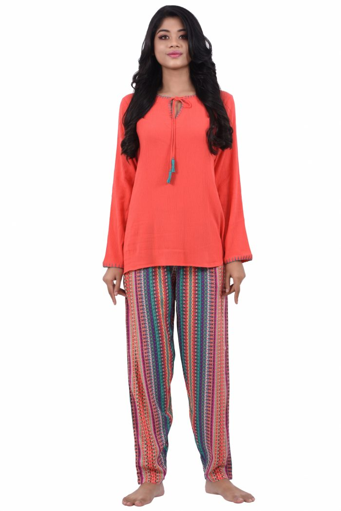 Women Crepe Cotton Full Length Pyjama Set