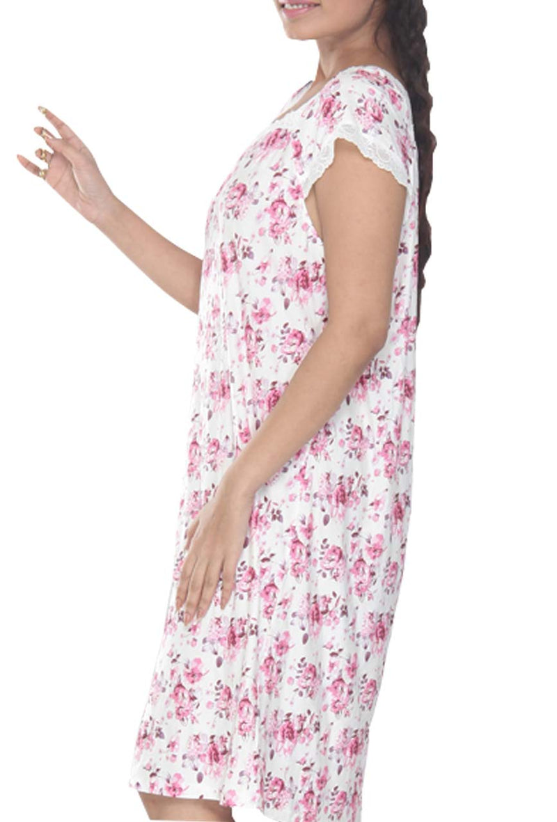 Women Short Floral Print Cotton Modal Nighty