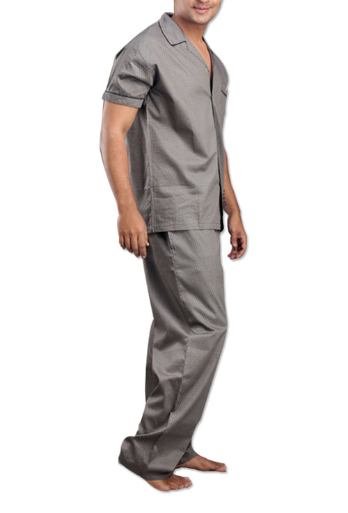 Men's Pure Cotton Grey Night Suit By Suman Nathwani