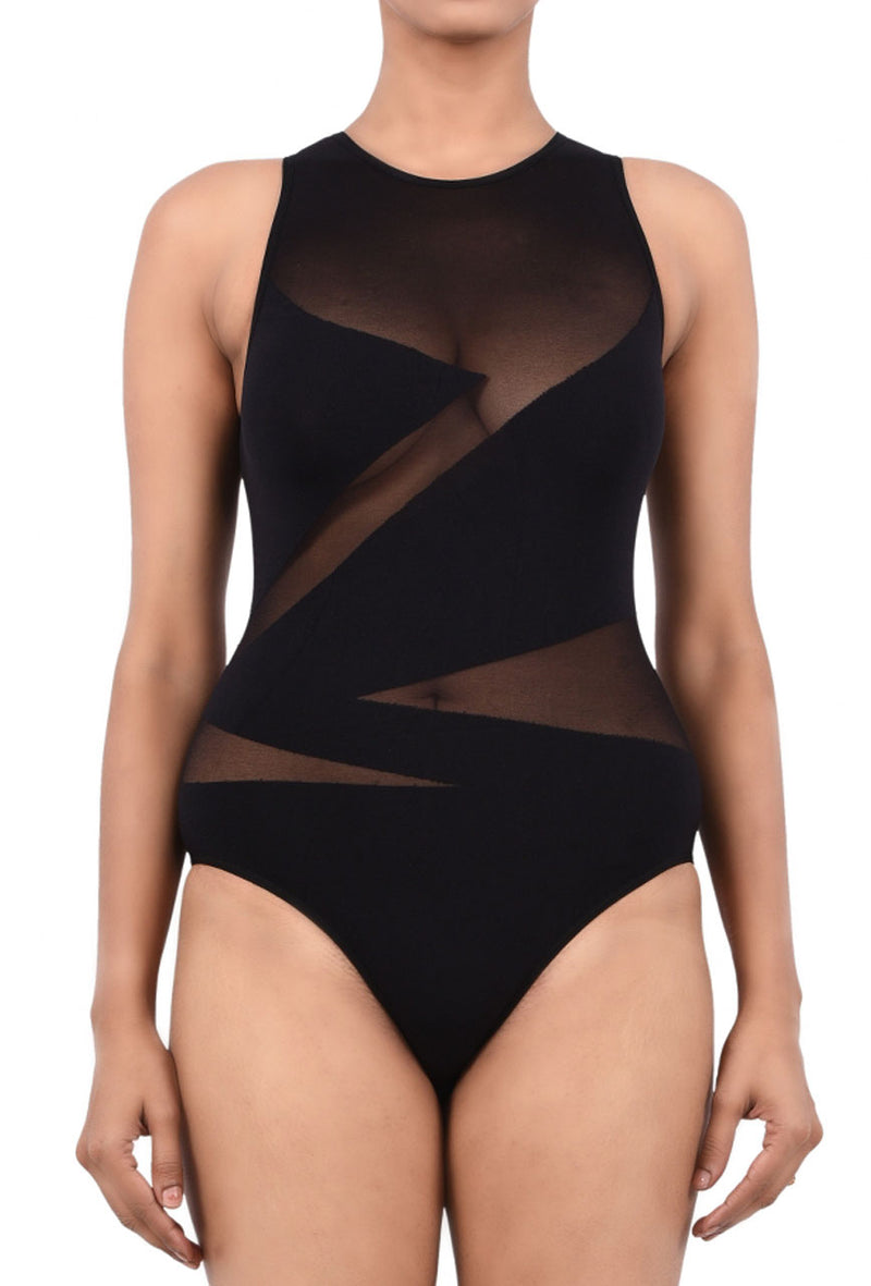 Women Exotic Mesh/Net Bodysuit Black