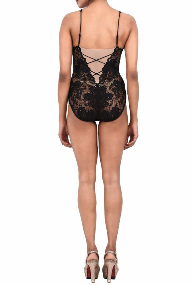 Women Exotic Lingerie Lace Bodysuit Black