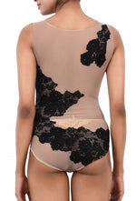 Women Premium Lingerie Lace and Mesh / Net Bodysuit Black