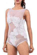 Women Premium Lingerie Lace and Mesh Bodysuit White