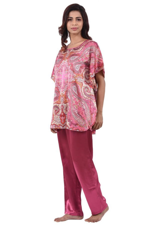 Women Satin Kaftan Top With Full Length Pyjama