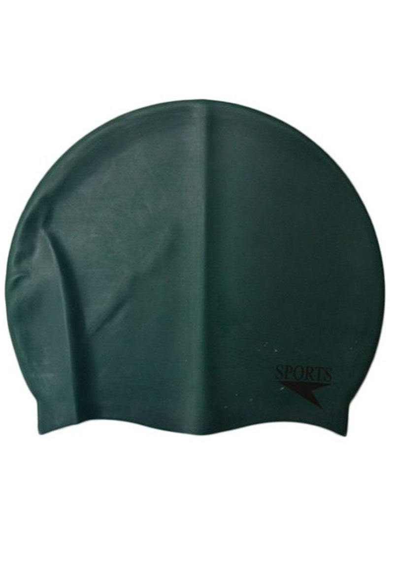 Unisex Plain Silicone Swimming Cap In Green