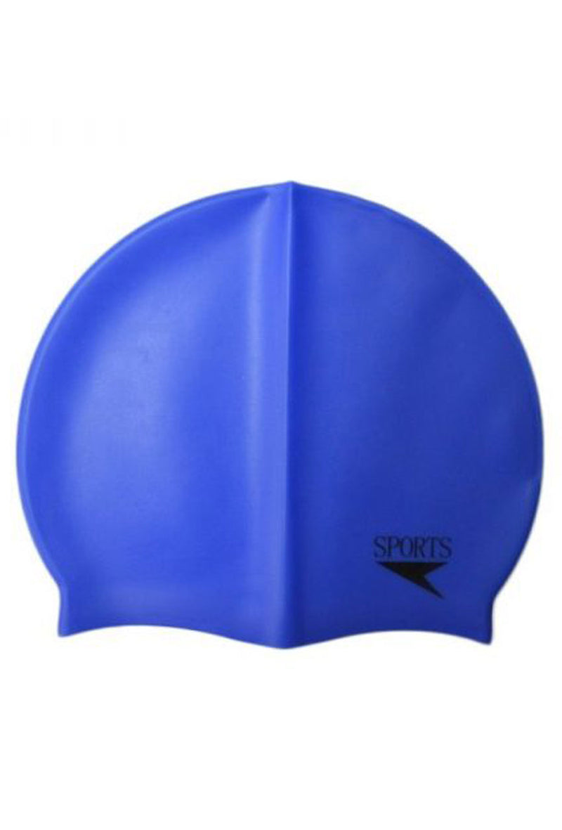 Unisex Plain Silicone Swimming Cap Blue