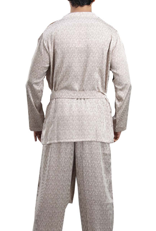 La Lingerie – Suman Nathwani – Men's house coat and pyjama set -Cream Brown