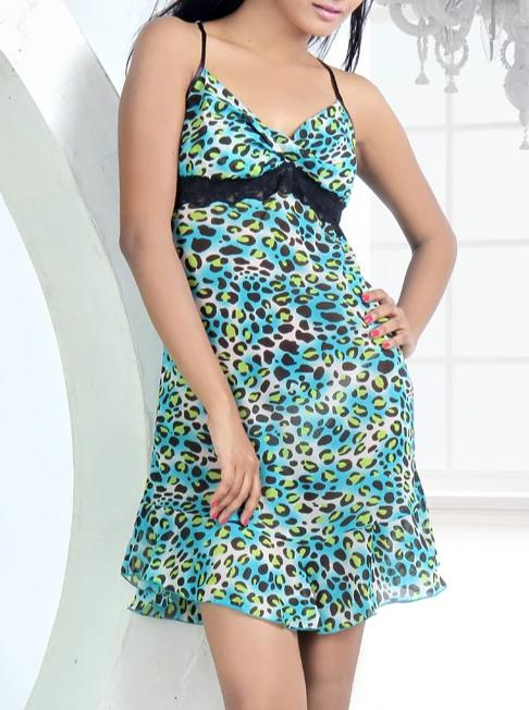 Women Chiffon Sexy Animal Print Nighty By Suman Nathwani