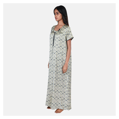 Women Pastel Green Printed Sweet Dreams Satin Nighty
