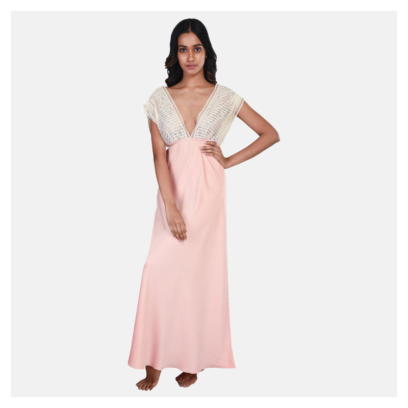 Women Peach Satin Low Neck Bridal Nighty Gown Set - Suman Nathwani