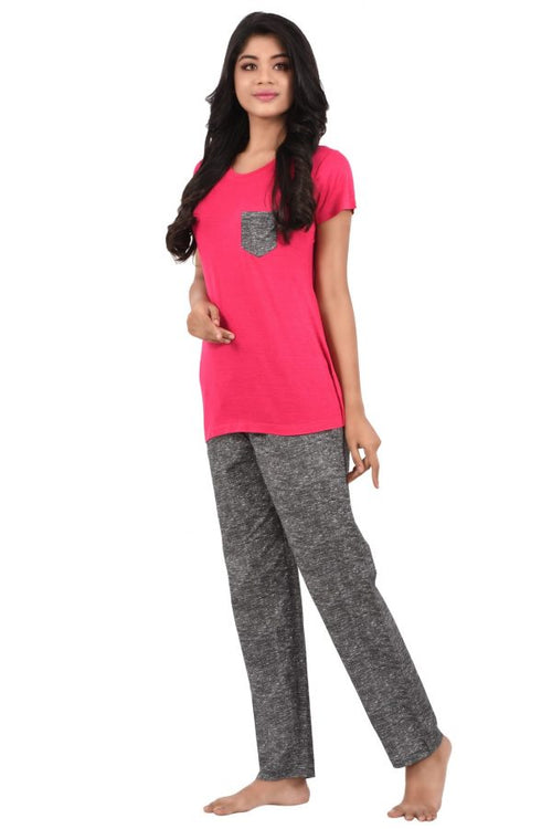 Women Hosiery Cotton Full Length Pyjama Set