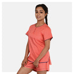 Women Orange Peachy Dots Round Neck Top and Short Cotton Night Suit