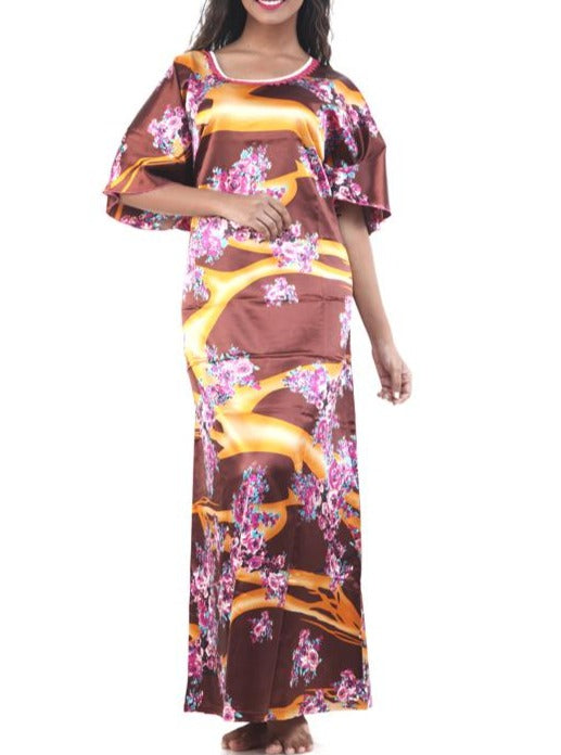 Women Digital Print Satin Kaftan By Suman Nathwani
