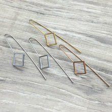 Load image into Gallery viewer, 3E61 Stainless Steel 14K Gold Plated Hypoallergenic Square Drop Earrings