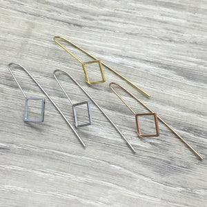 3E61 Stainless Steel 14K Gold Plated Hypoallergenic Square Drop Earrings