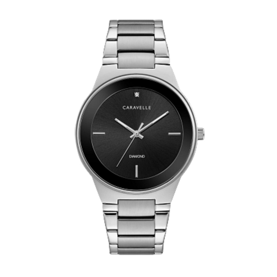 43D106 Caravelle Stainless Steel with Single Diamond on Matte Black dial.