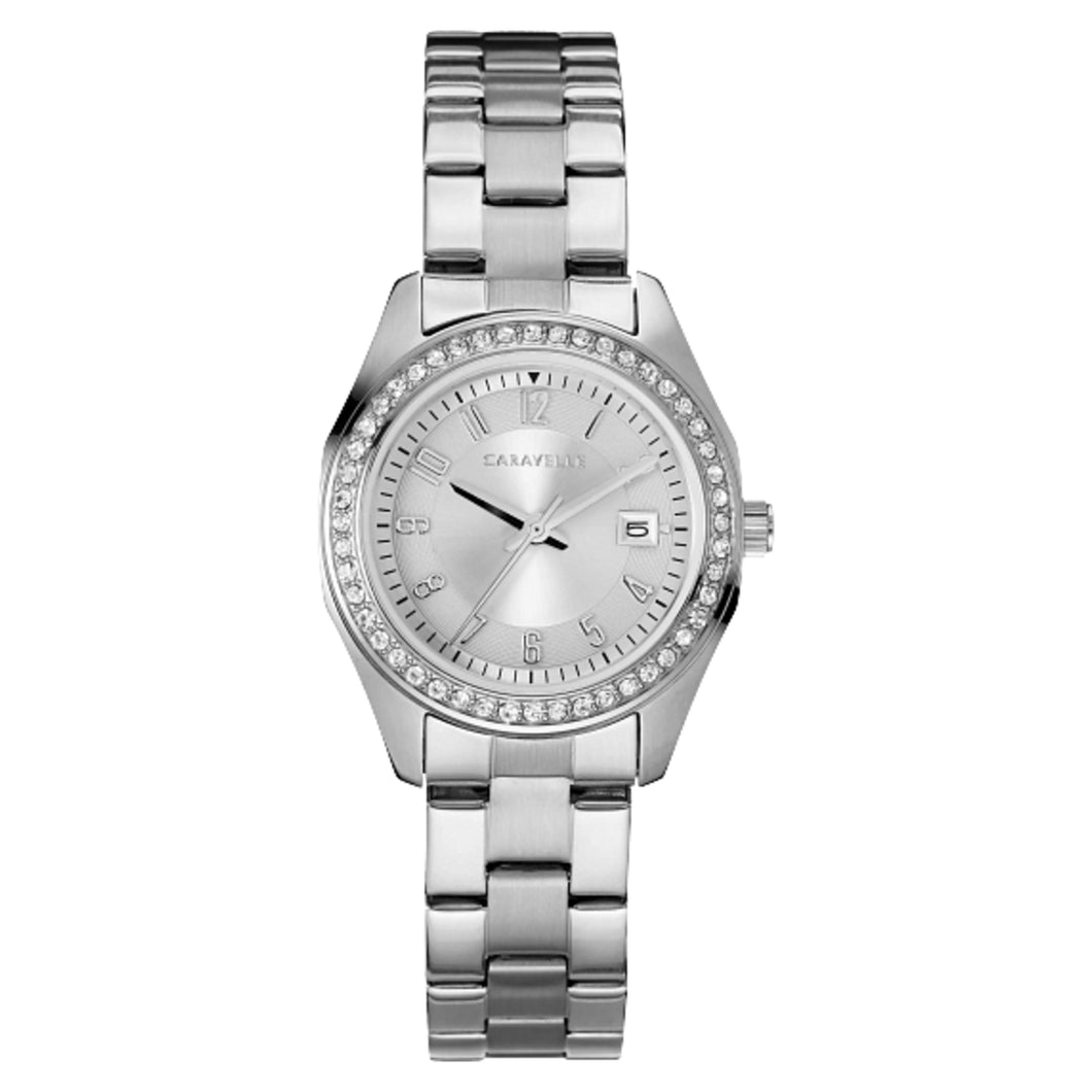 43M120 Caravelle Stainless steel watch surrounded by 48 individually hand-set crystals, with silver-white dial & calendar
