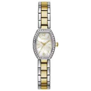45L168 Two-Tone Stainless steel with 40 crystals embellish silver-white Mother-of-Pearl dial
