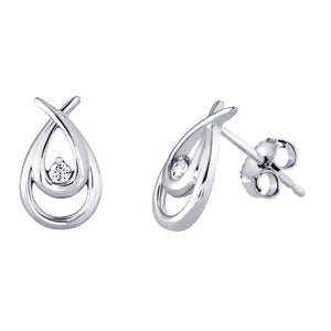 882226 10K White Gold .05ct tw Diamond Stud Earrings 50% Off FINAL SALE