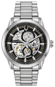 96A208 BULOVA Sophisticated design with full exhibition dial and case-back. Stainless steel screw-back case