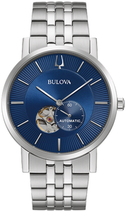 96A247 BULOVA Stainless steel case with open aperture blue dial Water resistance to 30 metres.