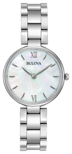 96L229  BULOVA Stainless steel case, white Mother-of-Pearl dial, flat mineral glass, stainless steel bracelet