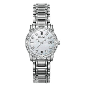 96R105  BULOVA Silver Tone Stainless Steel, Mother-of-Pearl Dial