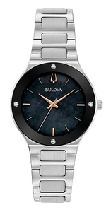 96R231 BULOVA Silver-tone stainless steel case with edge-to-edge black domed metalized crystal. Black Mother-of-Pearl dial featuring four diamonds