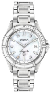 96P201 BULOVA  Silver-tone stainless steel case, dial set with five diamonds
