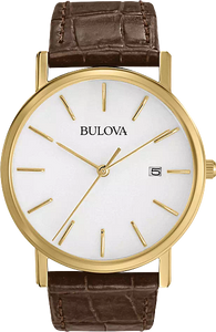 97B100 BULOVA White patterned dial. Calendar. Stainless steel case. Brown leather strap.