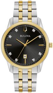 98D165 BULOVA  Two-tone stainless steel case and bracelet with a black dial featuring eight diamonds set on the dial