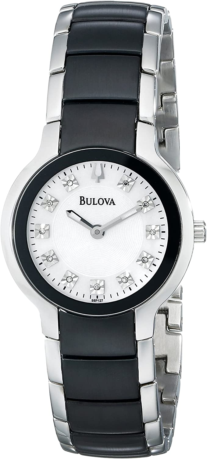 98P127 BULOVA  White Mother of Pearl dial 11 diamonds on dial Stainless steel case and bracelet