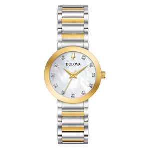 98P180 BULOVA 2-Tone Rose & Silver Stainless Steel, Mother-of-Pearl Dial with Diamonds