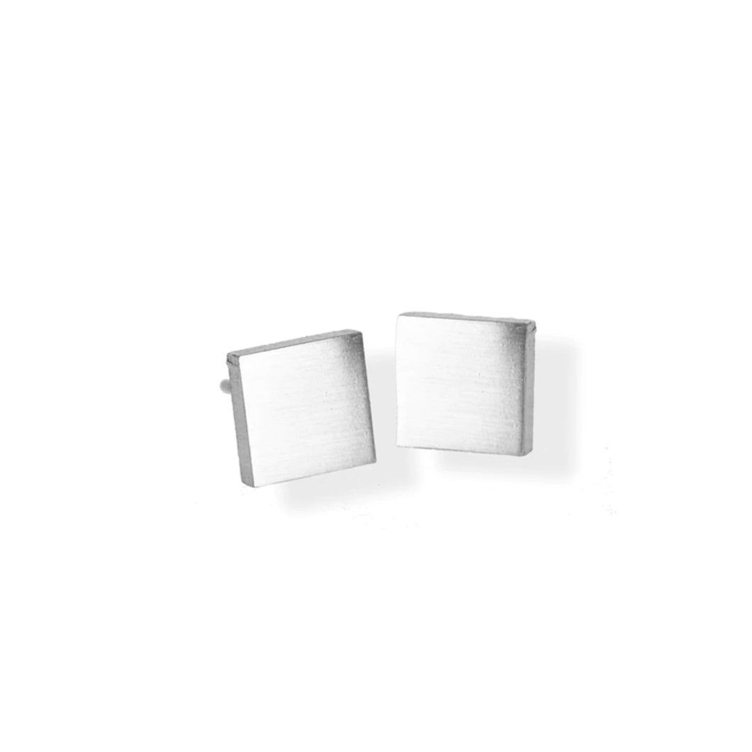 9E47 Stainless Steel 14K Gold Plated Hypoallergenic Small Square Stud Earrings