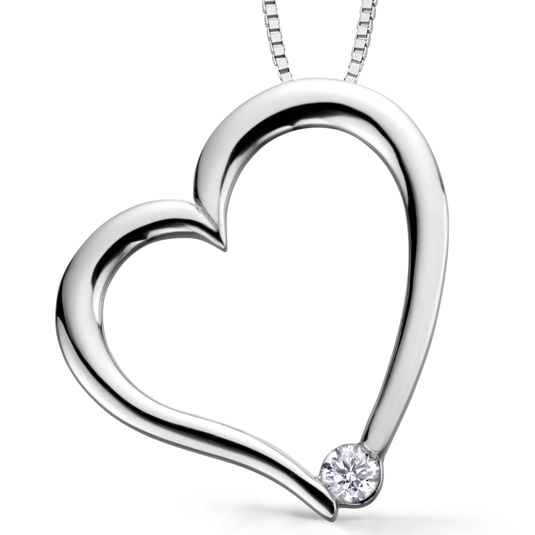 AM126  10KT White/Yellow Gold Heart Pendant. 0.03CT TW Canadian Diamond