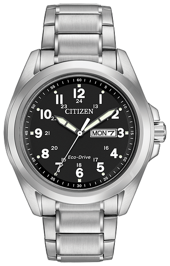 AW005082E CITIZEN® clean lines and oversized Arabic numbers, this timepiece features day and date display. Water resistant up to 100 meters.