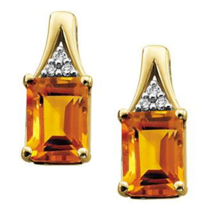 DD2124 10KT Yellow Gold Citrine & .03ct tw Diamond Stud Earrings